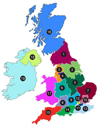 Map showing recent recruitment figures by area.