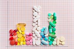 A graph made of medication pills